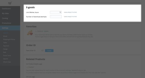 e-goods settings